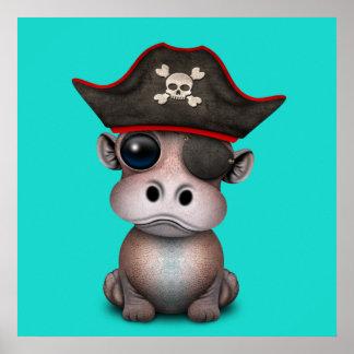 Niedlicher Baby-Flusspferd-Pirat Poster