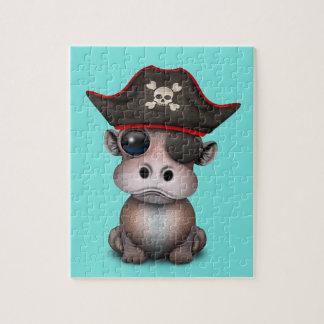 Niedlicher Baby-Flusspferd-Pirat Puzzle