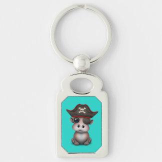 Niedlicher Baby-Flusspferd-Pirat Schlüsselanhänger