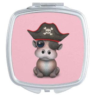 Niedlicher Baby-Flusspferd-Pirat Schminkspiegel