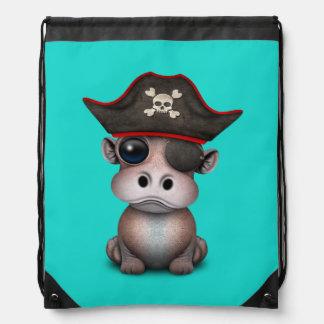 Niedlicher Baby-Flusspferd-Pirat Turnbeutel