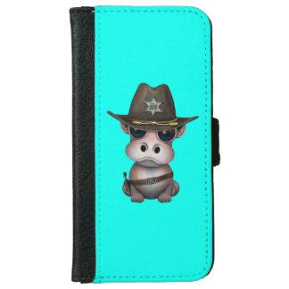Niedlicher Baby-Flusspferd-Sheriff Geldbeutel Hülle Für Das iPhone 6/6s