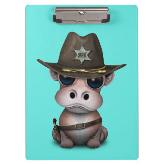 Niedlicher Baby-Flusspferd-Sheriff Klemmbrett