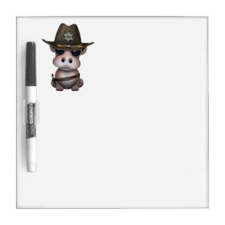 Niedlicher Baby-Flusspferd-Sheriff Memoboard