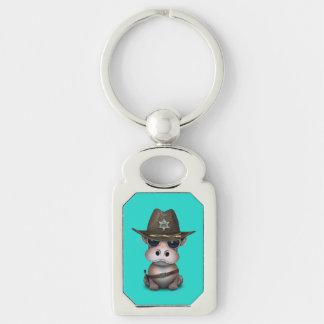 Niedlicher Baby-Flusspferd-Sheriff Schlüsselanhänger
