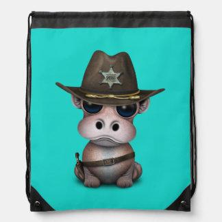 Niedlicher Baby-Flusspferd-Sheriff Sportbeutel