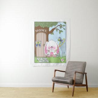 Niedlicher Baby-Häschen-Cartoon Wandteppich