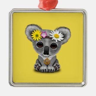 Niedlicher Baby-KoalaHippie Quadratisches Silberfarbenes Ornament