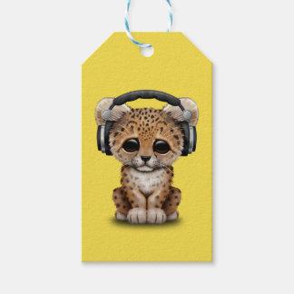Niedlicher Baby-Leopard-tragende Kopfhörer Geschenkanhänger