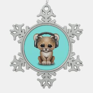 Niedlicher Baby-Löwe-tragende Kopfhörer Schneeflocken Zinn-Ornament