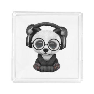 Niedlicher Baby-Panda-tragende Kopfhörer Acryl Tablett