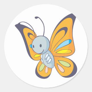 Niedlicher Baby-Schmetterlings-Cartoon Runde Sticker