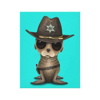 Niedlicher Baby-Seelöwe-Sheriff Leinwanddruck