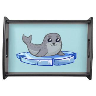 Niedlicher Baby-Siegel-Cartoon Tablett