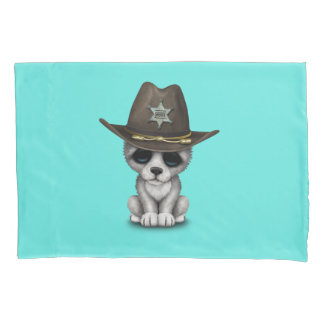 Niedlicher Baby-Wolf-Sheriff Kissenbezug