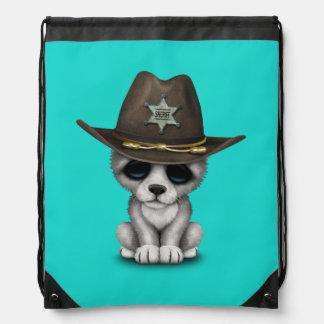 Niedlicher Baby-Wolf-Sheriff Turnbeutel