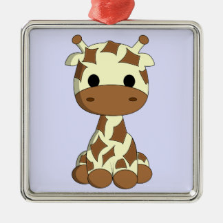 Niedlicher Babygiraffen-Cartoon Silbernes Ornament