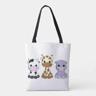 Niedlicher Babykuhgiraffen-Flusspferd-Cartoon Tasche