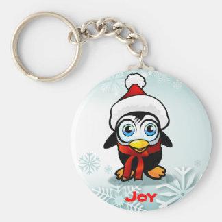Niedlicher BabyPenguin mit Weihnachtsmannmütze Schlüsselanhänger