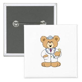 Niedlicher Bär Doktor-Teddy Quadratischer Button 5,1 Cm