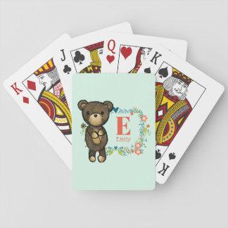 Niedlicher Bär, gelbe Blume u. Spielkarten