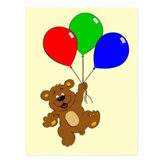 Niedlicher Bär mit Ballon-Cartoon scherzt Postkarte