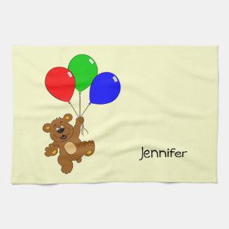Niedlicher Bär mit Ballon-Cartoonnamen-Küchentuch Geschirrtuch