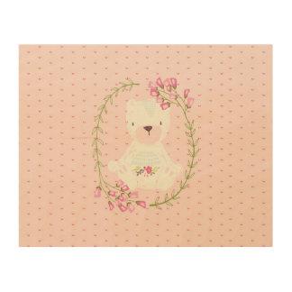 Niedlicher Bärn-BlumenWreath und Herzen Holzwanddeko