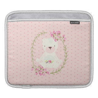 Niedlicher Bärn-BlumenWreath und Herzen iPad Sleeve