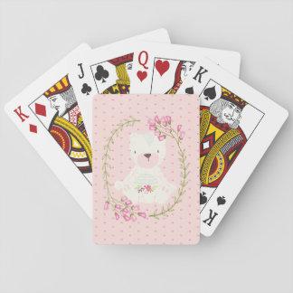 Niedlicher Bärn-BlumenWreath und Herzen Spielkarten