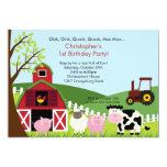 Niedlicher Barnyard-Tierspaß-Geburtstags-Party Ankündigungen