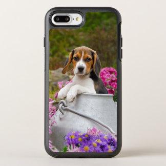 Niedlicher Beagle-Hundewelpe in Milchkanne OtterBox Symmetry iPhone 8 Plus/7 Plus Hülle