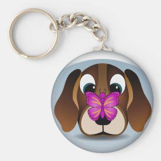 Niedlicher Beagle-Welpen-Hund und Schmetterling Schlüsselanhänger