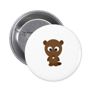 Niedlicher Biber Runder Button 5,7 Cm