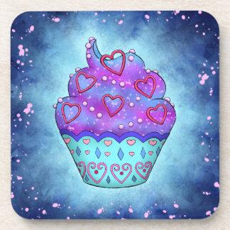 Niedlicher blau/rosa Cupcake mit rosa Herzchen Untersetzer
