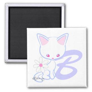 Niedlicher blaue Katzen-Alphabet-Buchstabe B Quadratischer Magnet
