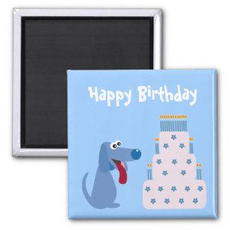 Niedlicher blauer Cartoonhunde- u. Geburtstagskuch Kühlschrankmagnete