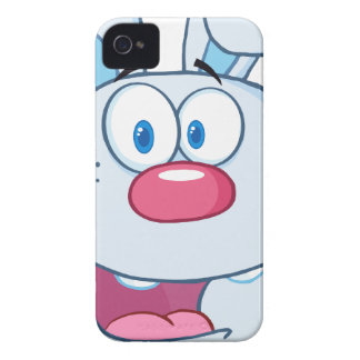 Niedlicher blauer Häschen-Cartoon-Charakter iPhone 4 Hüllen