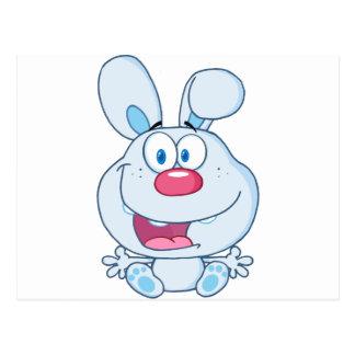 Niedlicher blauer Häschen-Cartoon-Charakter Postkarte