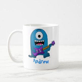 Niedlicher blauer Monster-Gitarrist Kaffeetasse