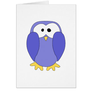 Niedlicher blauer Penguin. Pinguin-Karikatur Karte