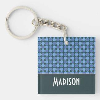 Niedlicher blauer Polka-Punkt Schlüsselanhängern