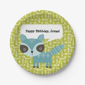 Niedlicher blauer Raccoon-personalisierter Pappteller