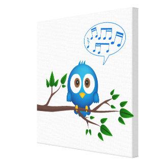 Niedlicher blauer Twittervogel-Cartoon Galerie Falt Leinwand