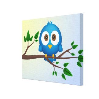 Niedlicher blauer Twittervogel-Cartoon Gespannter Galerie Druck
