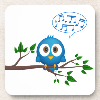 Niedlicher blauer Twittervogel-Cartoon Getränkeuntersetzer