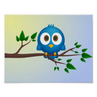 Niedlicher blauer Twittervogel-Cartoon Poster