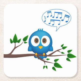 Niedlicher blauer Twittervogel-Cartoon Rechteckiger Pappuntersetzer