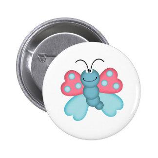 niedlicher blauer und rosa Schmetterling Anstecknadelbutton