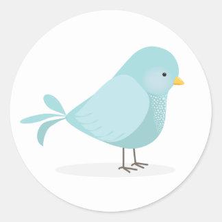 Niedlicher blauer Vogel des Glückes Runder Aufkleber